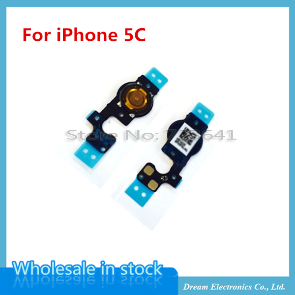 50pcs/lot New Home Button Menu Flex Cable Replacement Part For iPhone 5C(China (Mainland))