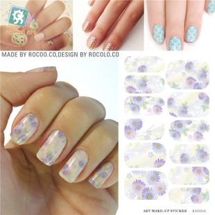 KH015A Fashion Nail Sticker Water Transfer Foil Nails Art Sticker Chrysanthemum Design Light Purple Manicure Decor Decals(China (Mainland))