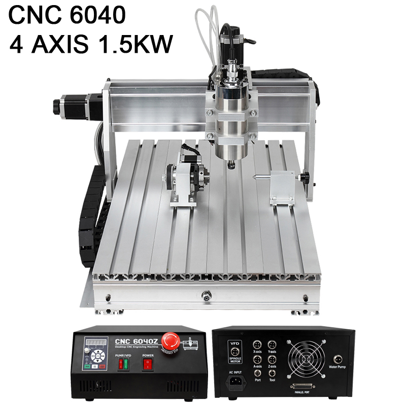 2015 Router Woodworking CNC Machine 6040 4 Axis Mini Engraving and Aluminum Milling Machine Metal 1.5kw(China (Mainland))