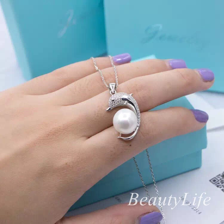 Women 925 sterling silver zircon collar neckalce Pearl created Dolphin Pearl Lucky CO & Brand Ring Wedding bridal set(China (Mainland))
