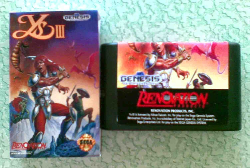 16 bit Sega MD game Cartridge - Ys III 3 with Retail box for Megadrive Genesis Free shipping!(China (Mainland))