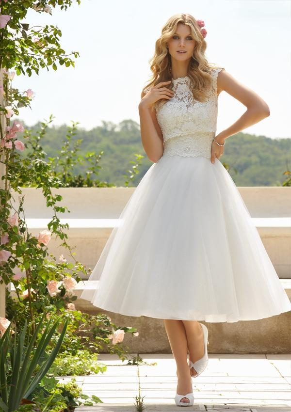 New arrival beautiful lace top tulle skirt tea length for Tea length wedding dress tulle skirt