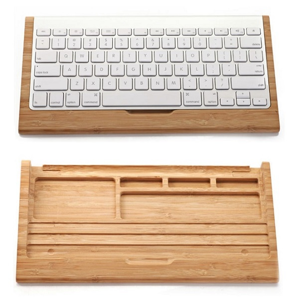 Natural Bamboo Wood Keyboard Stand Mobile Holder For Apple iMac PC Computer Original Samdi Wooden Bluetooth Keyboard Bracket(China (Mainland))