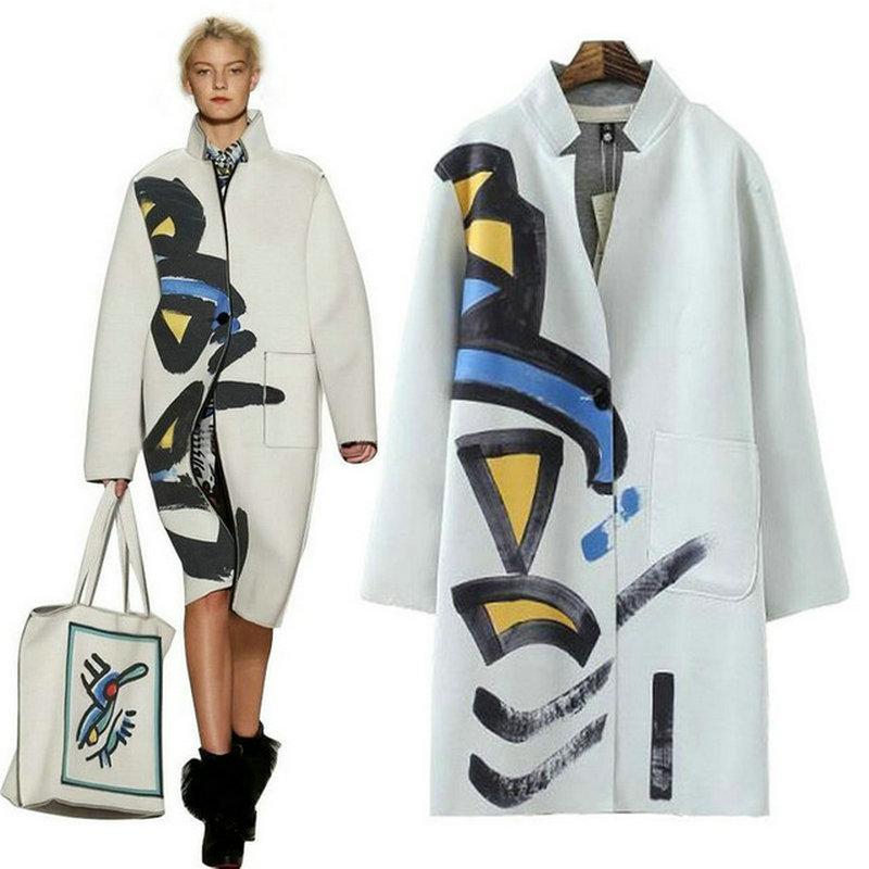 Top 2017 Cotton V Neck Coat Female Overcoat scrawl Print parka Jackets women Outwear Noble Elegant