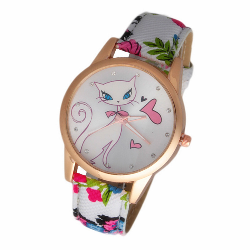 Гаджет  2014 New Fashion Cute watches Women and Children Favor cat Cartoon watches Casual quartz wristWatches For LOVERS Gift CN0692-3 None Часы