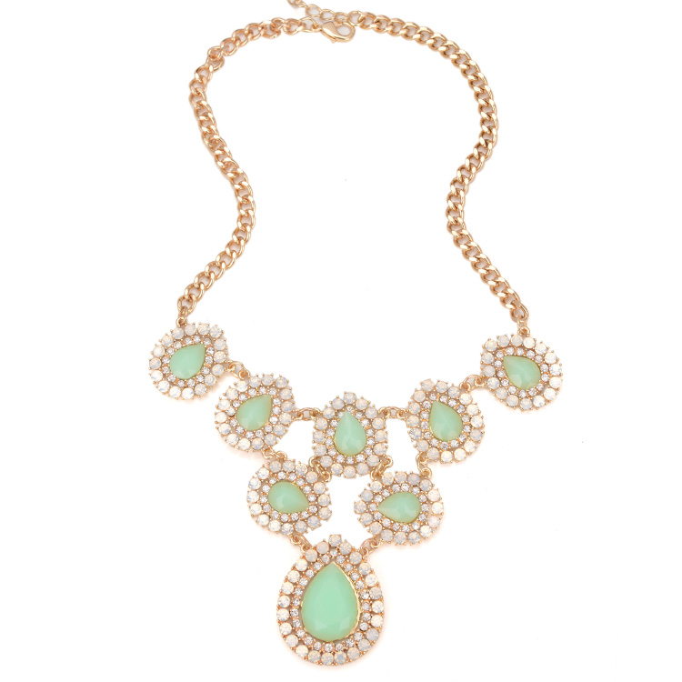 2015 New Spring Fashion Trendy Jewelry Diamante Big Stone Chunky Statement Necklace For Women Hot Sell(China (Mainland))