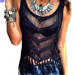2015 New Tassel Halter Top Hollow Sexy Blusas Handmade Crochet Women Tops Plus Size Sport Shirt Vest Rose Harajuku Halter Tops D