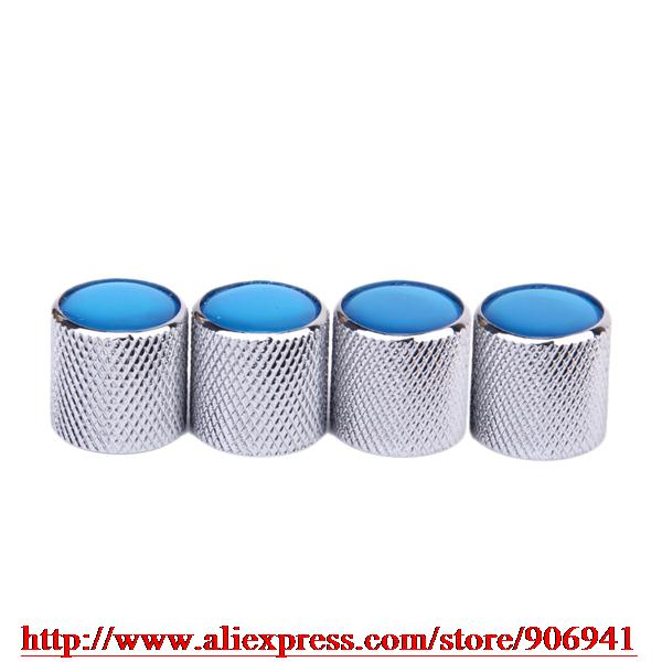 4pcs Volume Tone Control Knob for Electric Guitar Silver blue Nice Pearl White Top(China (Mainland))