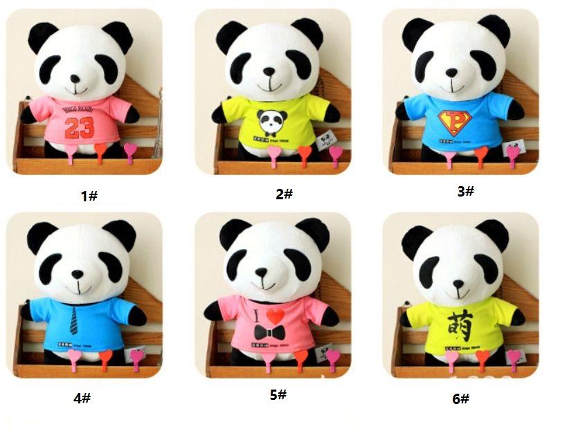 Plush Toys New 30cm Bingo Panda with Blue Pink Yellow T shirt Kids Toy Vallentine' s Day Birthday Gift Free Shipping Top Sale(China (Mainland))