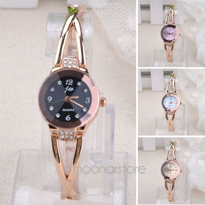 Ladies Fashion Watches 2015 New Women Watch Girls Royal Gold Dial Bracelet Quartz Stainless Steel Watches(China (Mainland))