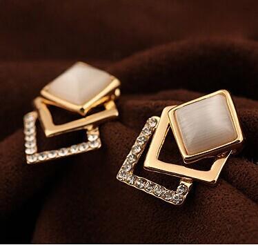 18KG Plated 2014 New Style Korean Temperament OL Fashion Sparking Rhinestone 18KGP Geometry Square Opal Stud Earrings E108(China (Mainland))
