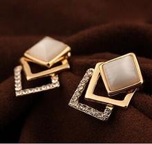 18KG Plated 2014 New Style Korean Temperament OL Fashion Sparking Rhinestone 18KGP Geometry Square Opal Stud Earrings E122