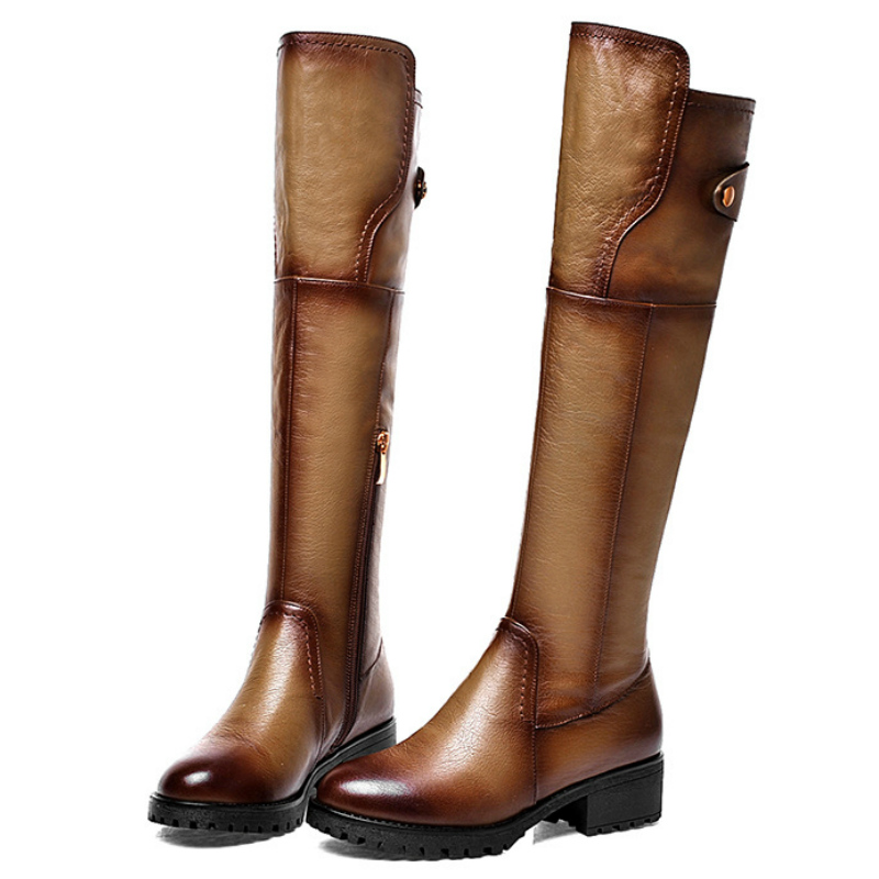 2016 Fashion Spring autumn full genuine leather flat heel knee high boot shoes women full grain leather flats knight long boot(China (Mainland))