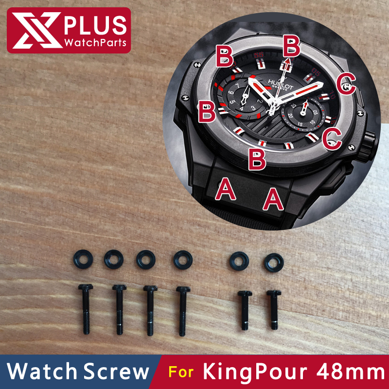 6 piece/sets H screw steel black hub watch bezel screw for Hub KingPour 48mm 715.CI.1123.RX micro screw watch parts(China (Mainland))