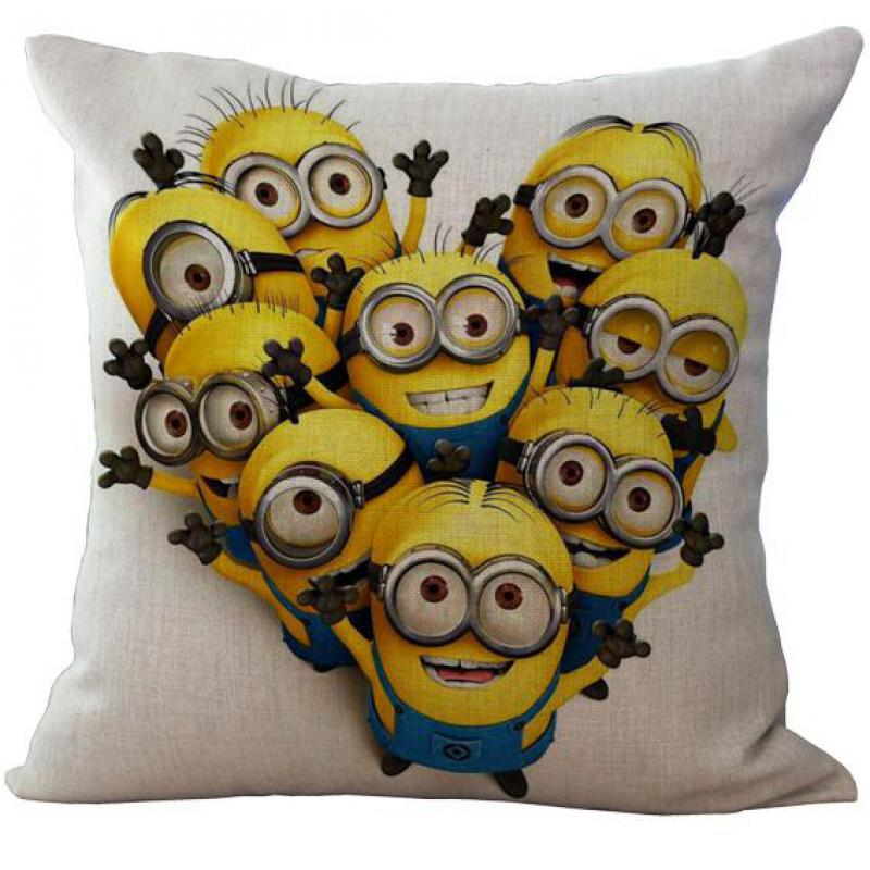 Factory Supply Cartoon Animation Series Yellow Linen Kids Throw Pillow Case Cushion Cover For Children s
