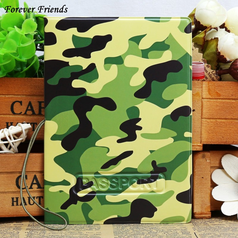 ForeverFriends PU&PVC Passport Holder Cover ID Credit Card Cover Bags Folder for Travel - army's green pattern(China (Mainland))