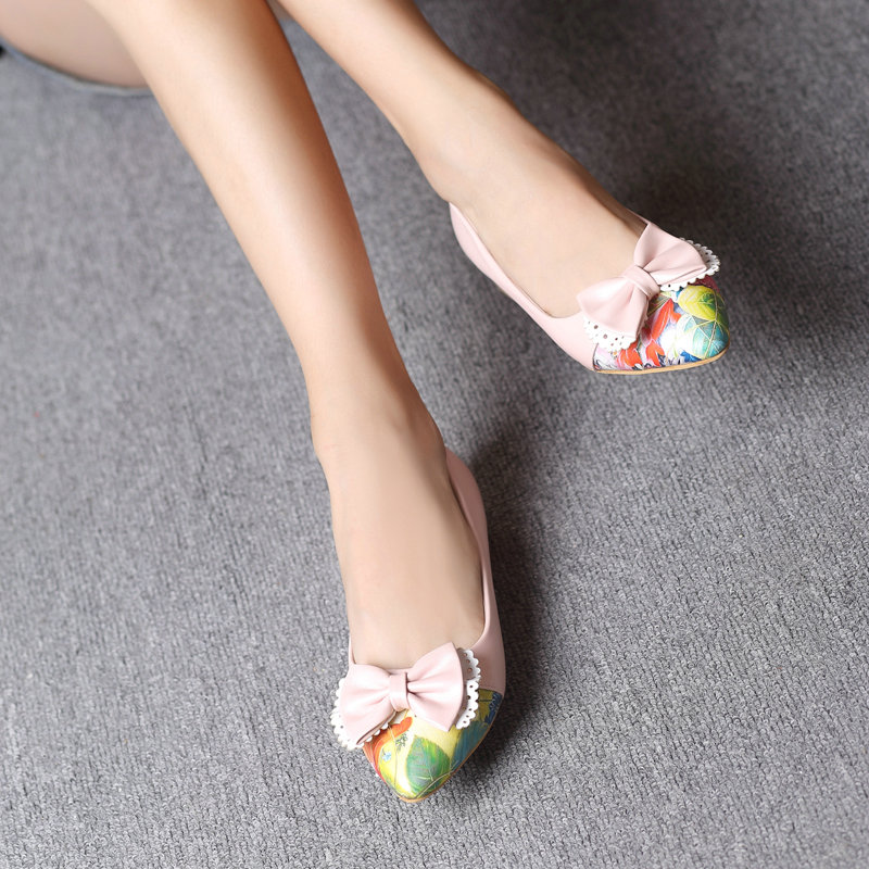 Sweet Bow Flat Shoes 2016 New Pointed Toe Shoes Wedding Shoes Girls Princess Shoes Student Shoes Spring Lolita Big Size 34-43<br><br>Aliexpress