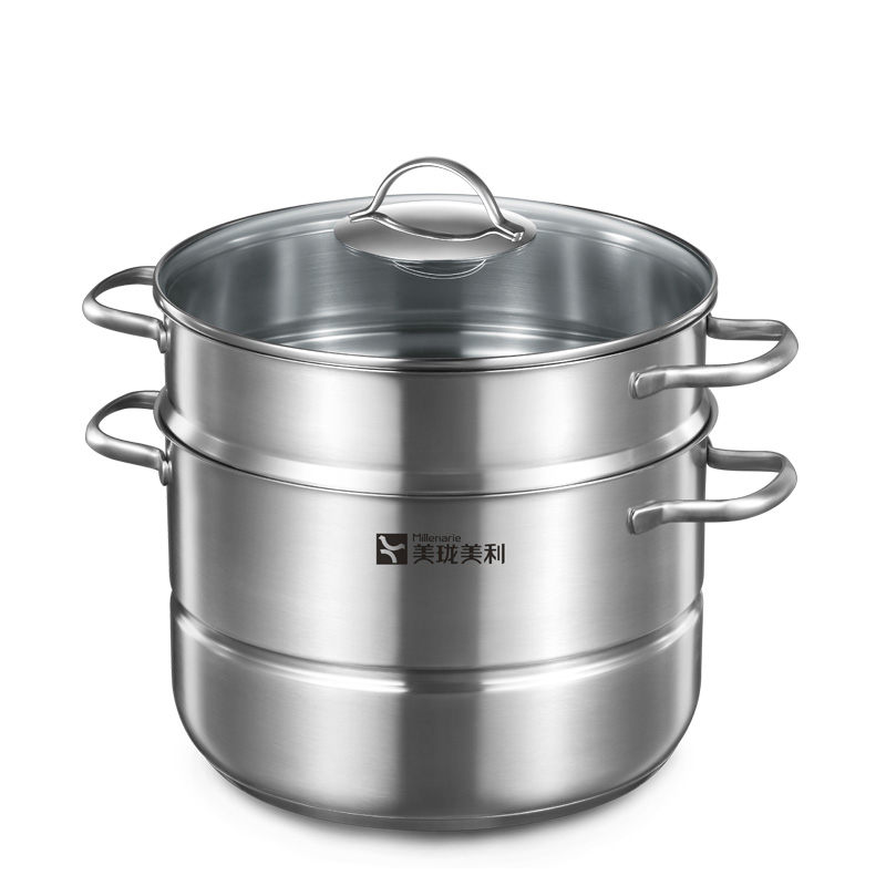 Millenarie Cookware Warm Modern Kitchen SUS 304 Stainless Steel 3-layer 11 Liter 28cm Cooking Soup Stock Steamer Pot(China (Mainland))