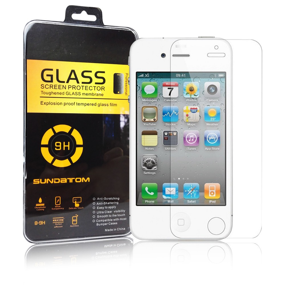 Sundatom High Quality 9H Explosion-proof Anti-scratch 2.5D Tempered Glass Screen Protector For iPhone 4 4S(China (Mainland))