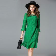 2016 elegant women mermaid lace short dresses XL-5XL plus size spring ruffles women sexy lace dress green black color