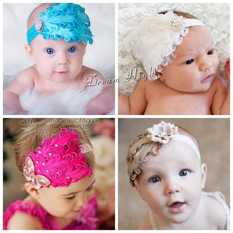 Girls Rhinestone/Feather Baby headband,Infant peacock elastic hair bands,Toddler Sequins bow girls hair accessories #2B1987(China (Mainland))
