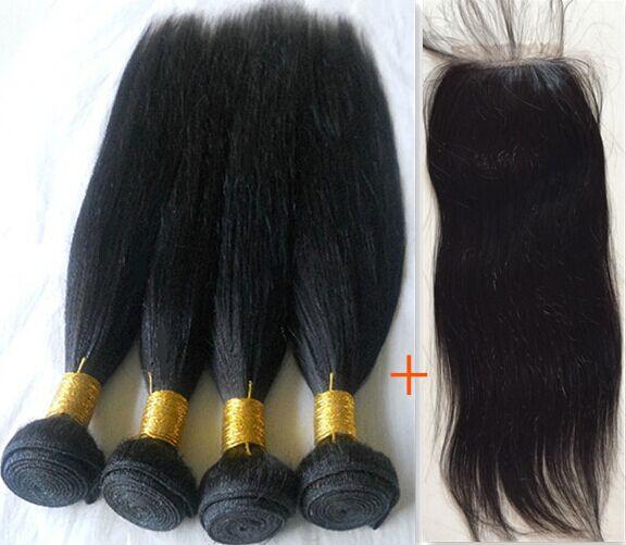 European virgin hair straight bundles with lace clsoure brazilian human hair 3 bundles hair with lace closure silk closure<br><br>Aliexpress