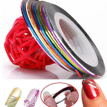 10 Color 20m Rolls Nail Art UV Gel Tips Striping Tape Line Sticker DIY Decoration 01ZX