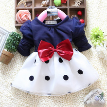 2016 New Spring baby girls dress O-neck long-sleeve cotton bow dot print baby girl dresses A087(China (Mainland))