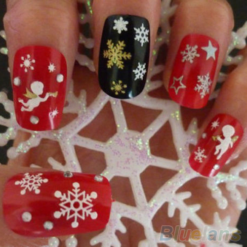 Snowflakes Snowman 3D Nail Art Stickers Decals Girl Fingernail Accessories 1QA9 2ODJ(China (Mainland))