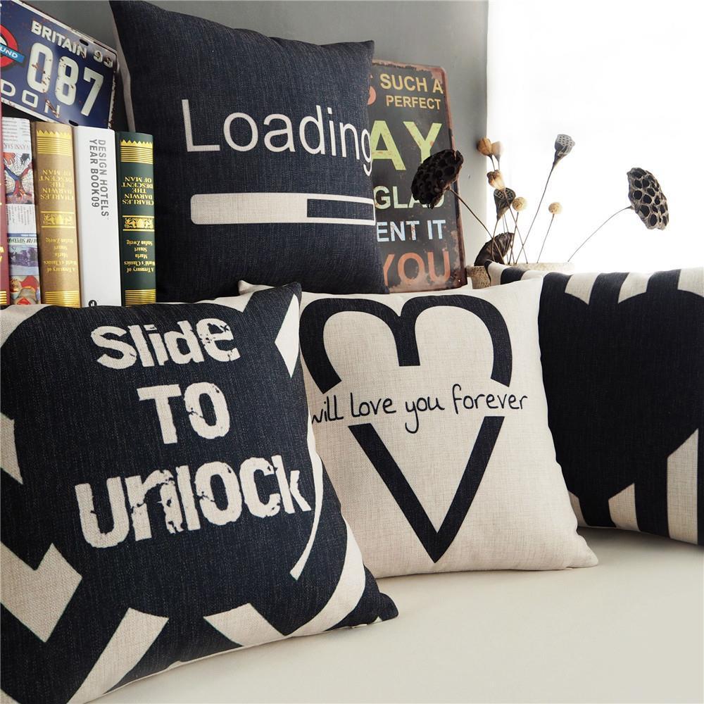 Nordic Geometric love pillow ,Black white Geometry Pillow cushion ,Linen pillowcase,home decorative Pillows(China (Mainland))