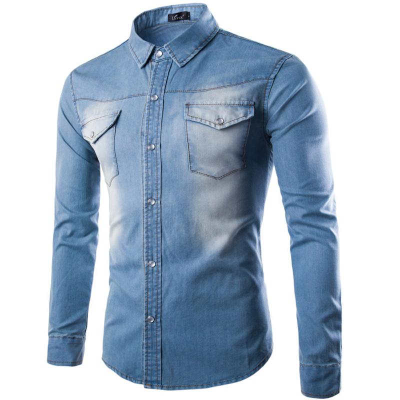 brand men shirt 2016 fashion denim design mens slim fit long sleeve jean shirts casual stylish. Black Bedroom Furniture Sets. Home Design Ideas