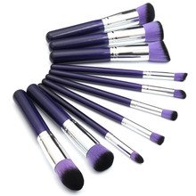 Wholesale 10Pcs Purple Makeup Brush Pen Set Eyeshadow Powder Blush Foundation Concealer Blending Kit Beauty Cosmetic Tools