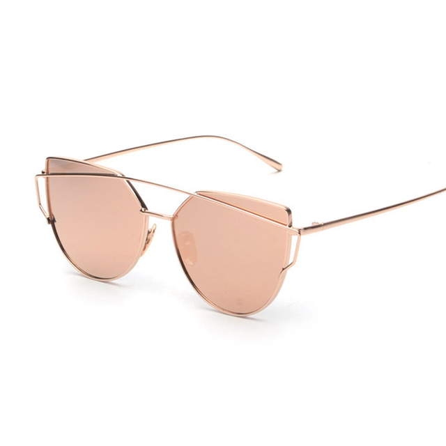 Pink vintage Mirror Women Cat Eye Sunglasses Brand Designer Twin-Beams