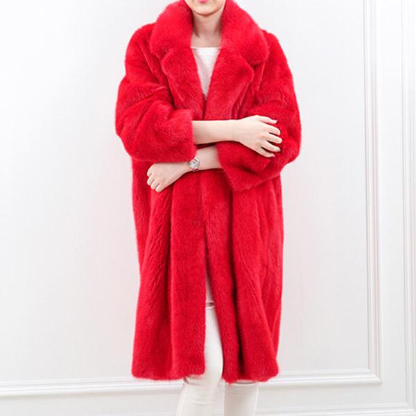 Long Design Imitation Mink Red Faux Fur Coat(China (Mainland))