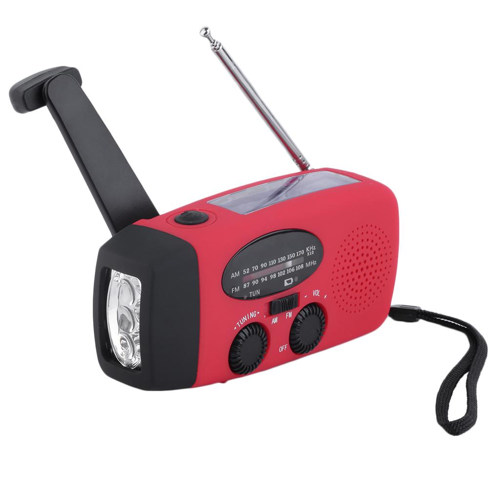 New Protable Solar Radio Hand Crank Self Powered Phone Charger 3 LED Flashlight AM/FM/WB Radio Waterproof Emergency Survival Red(China (Mainland))