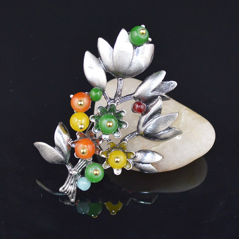 Hot Sell European and American Vintage Resin Brooches & Pins Flowers Natural Stone Brooches Original Design Jewelry Wholesale(China (Mainland))