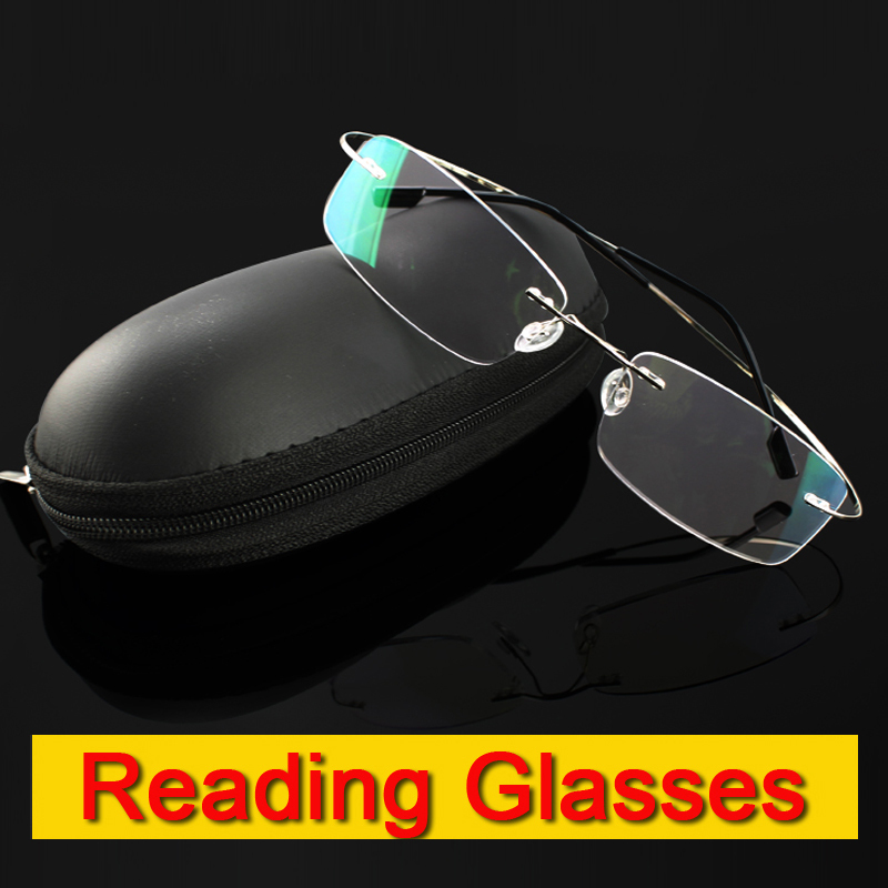 Rimless memory titanium flexible eyeglasses Reading Presbyopic glasses magnifying glasses 1 0 1 5 2 0