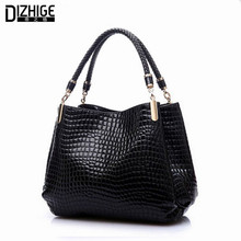 2015 Alligator Leather Women Handbag Bolsas De Couro Fashion Famous Brands Shoulder Bag Black Bag Ladies Bolsas Femininas Sac(China (Mainland))