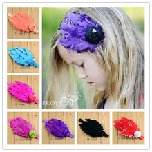 15 Colors Baby Girls' Hair Accessories Kids Infant Peacock curly Feather Headband Pearl Rose Flower Hairband Photography props