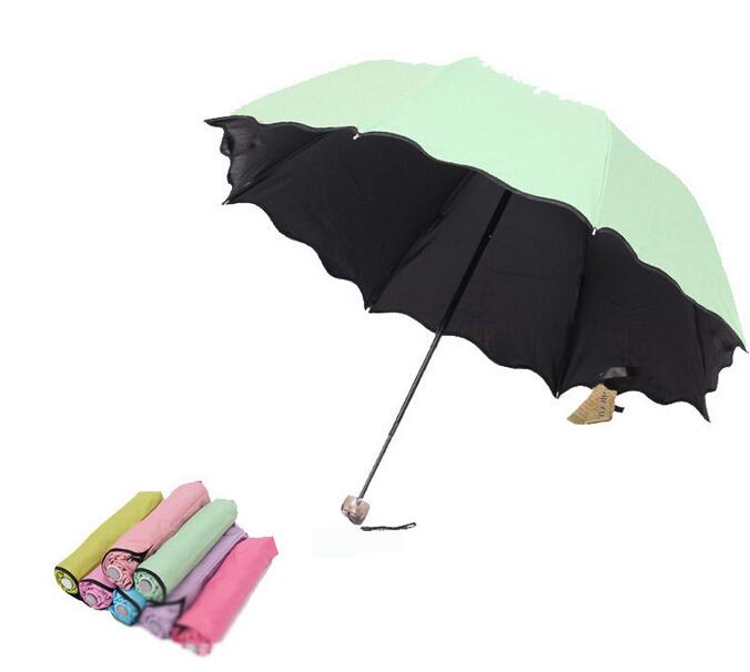 Women Fashion Colorful Anti-UV Parasol Flower 3 Folding Sun/Rain Windproof Umbrella Sunshade New(China (Mainland))