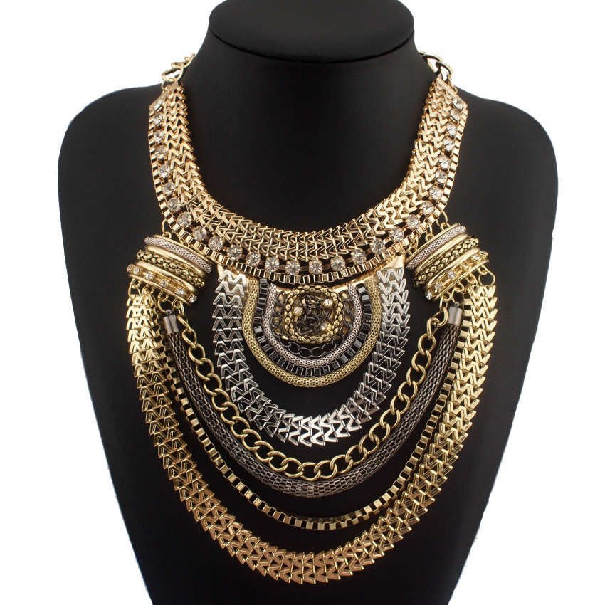 Fashion boho style exaggerated multilevel chain statement for Costume jewelry for evening gowns