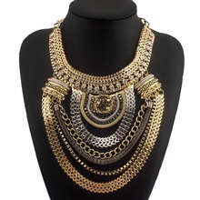 Fashion Boho Style Exaggerated Multilevel Chain Statement Necklaces Women Evening Dress Jewelry Choker Collares mujer CE1284(China (Mainland))