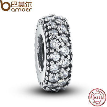 Authentic 925-sterling-silver Inspiration Within Spacer Clear CZ Charm Fit Bracelet DIY Accessories Original PAS066