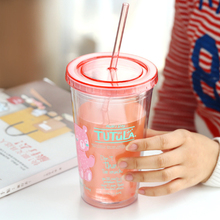 Great creative straw cups cold water bottle cute female student lemon tea cup with lid plastic household(China (Mainland))