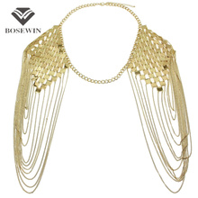 Bohemian Style Punk Body Chain Necklaces Alloy Collar Shoulder Chain Long Necklaces & Pendants Women Sexy Statement Body Jewelry(China (Mainland))
