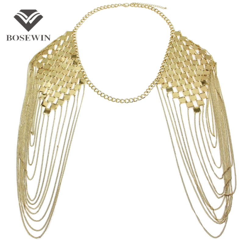 Bohemian Style Punk Body Chain Necklaces Alloy Collar Shoulder Chain Long Necklaces Pendants Women Sexy Statement