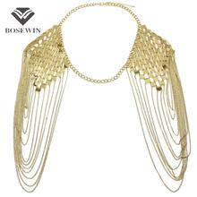 Bohemian Style Alloy Collar Shoulder Chains Pendants Bib Women Fashion Charm Jewelry Long Tassel Accessories Chain