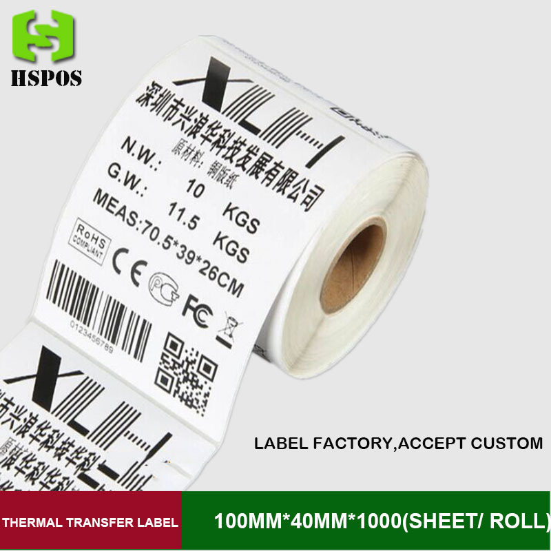 Thermal Transfer label 100x40mmx1000sheets one roll single row barcode sticker labels accept customize with a favorable price(China (Mainland))