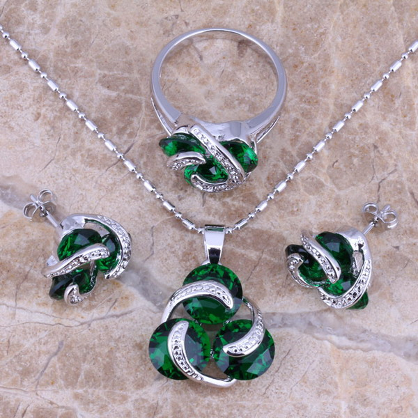 Distinctive Green Emerald Silver Jewelry Sets Earrings Pendant Ring Size 6/7/8/9 Free Shipping &amp; Jewelry Bag S0126<br><br>Aliexpress
