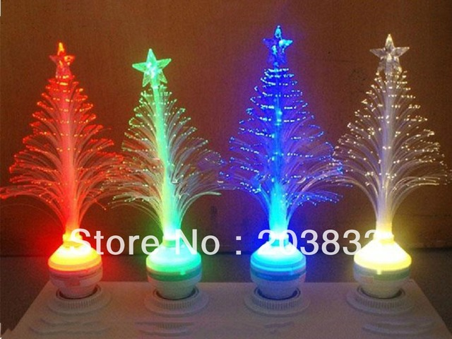 E27 Fiber Optical Flower Xmas Christmas Tree Gift LED Lamp Festival Deco Light